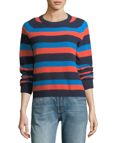 Royce Striped Crewneck Cashmere Sweater