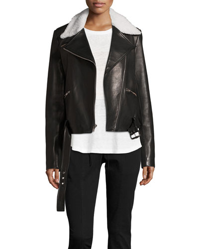 Tyrel Leather Moto Jacket w/ Shearling