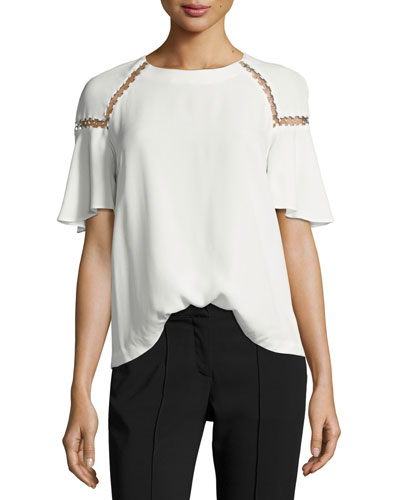 Sheila Short-Sleeve Top w/ Ring Trim