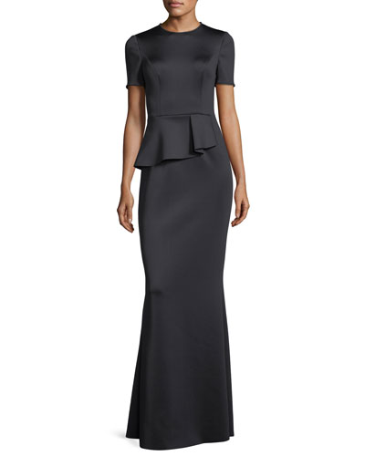 Short-Sleeve Peplum Neoprene Evening Gown
