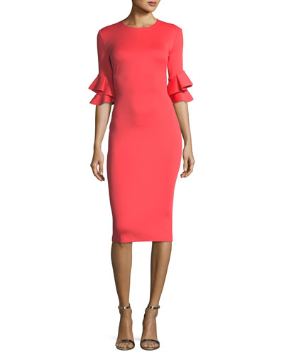 Josie Ruffled-Sleeves Sheath Cocktail Dress