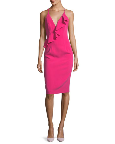 Leni Deep-V Sleeveless Sheath Cocktail Dress