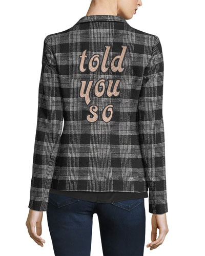 Harris Told You So Embroidered Plaid Wool Blazer