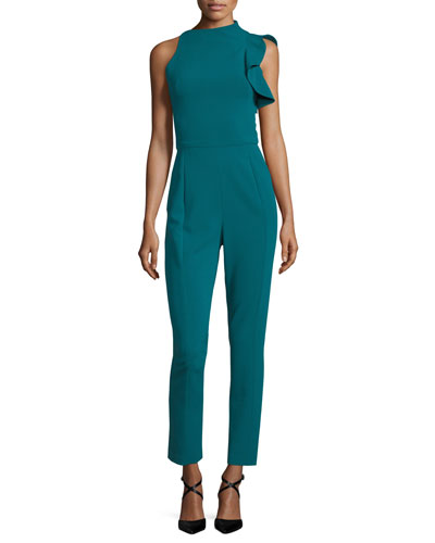 Pabla High-Neck Sleeveless Crepe Jumpsuit w/ Ruffle