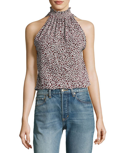 Zayden Halter Animal-Print Silk Blouse