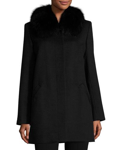 Fox-Trim Felt Coat