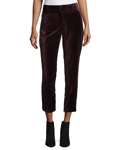 Stacey Slim High-Rise Velvet Ankle Pants