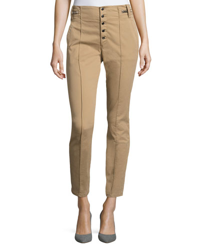 Rowan High-Waist Skinny Cotton Pants