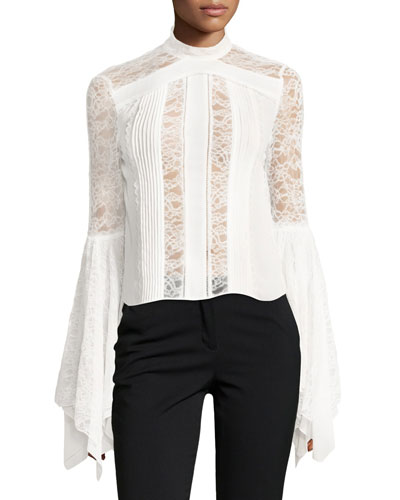 Ivy Handkerchief-Sleeves Silk Lace Top