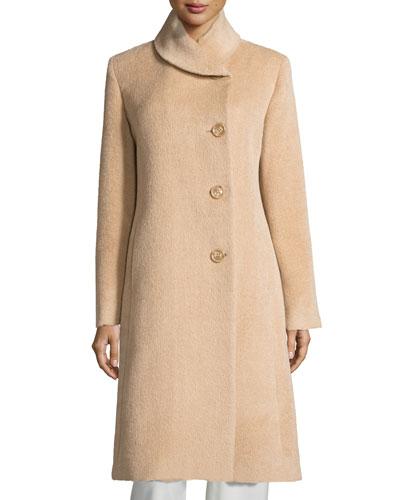 Round-Collar Button-Front Midi Alpaca Coat