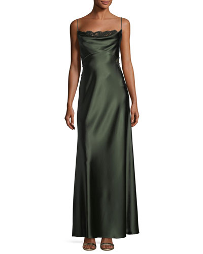 Satin Empire-Waist Slip Column Evening Gown w/ Lace
