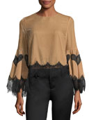 Levine Bell-Sleeve Blouse w/ Lace