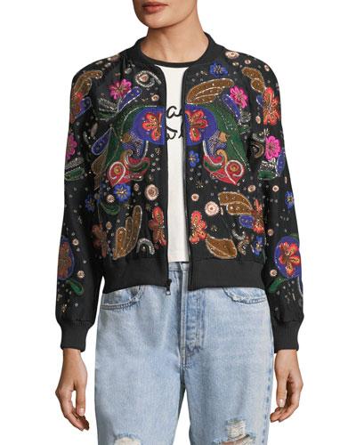 Felisa Embellished Silk Bomber Jacket