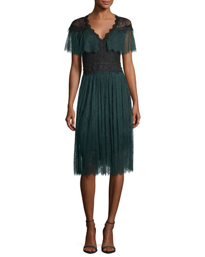 Yara V-Neck Lace Midi Cocktail Dress