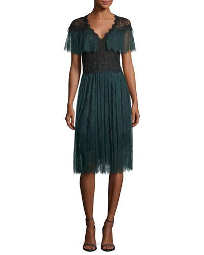 Yara V-Neck Lace Midi Cocktail Dress