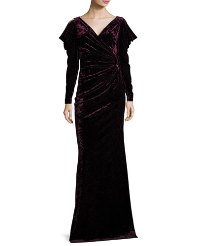 Velvet Long-Sleeve Open-Shoulder Evening Gown
