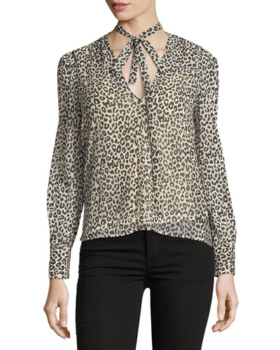 Long-Sleeve Tie-Neck Leopard-Print Blouse