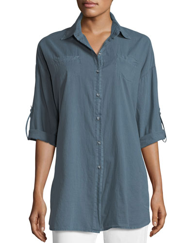 Ashlie Cotton Twill Button-Front Shirt