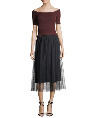 Striped Lurex® Jersey Dress w/ Point d'Esprit Skirt
