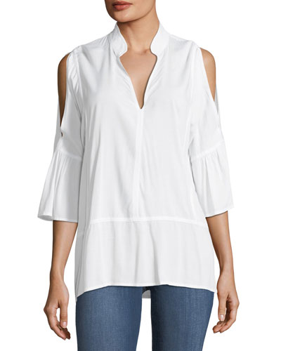 Nerine Cold-Shoulder Stretch Top, White