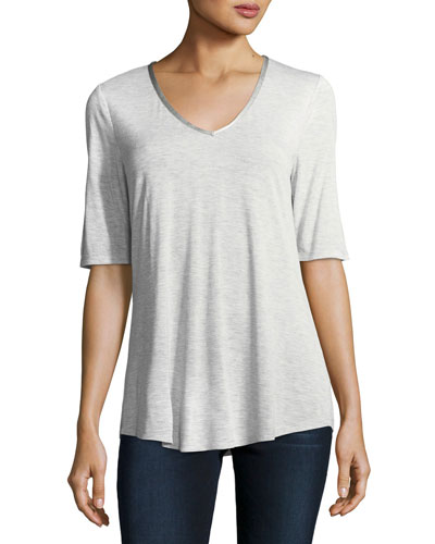 Satin-Trim Half-Sleeve Top