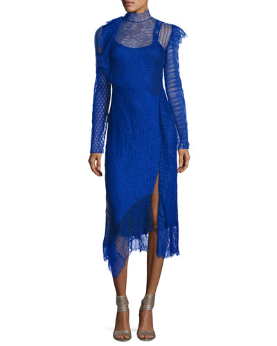 Long-Sleeve Lace Patchwork Midi Dress