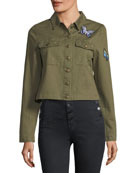 Denim Button-Front Butterfly-Patch Jacket