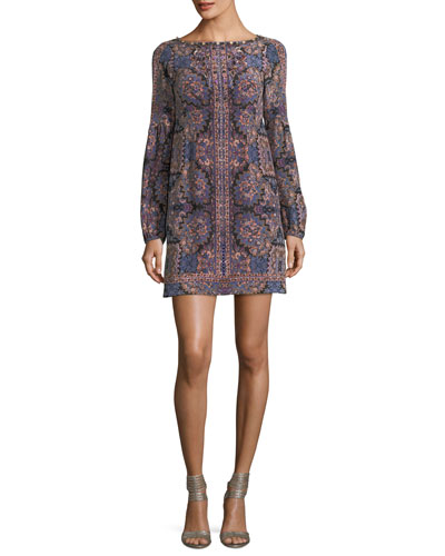 Kaleidoscope-Print Bateau-Neck Long-Sleeve Cocktail Dress