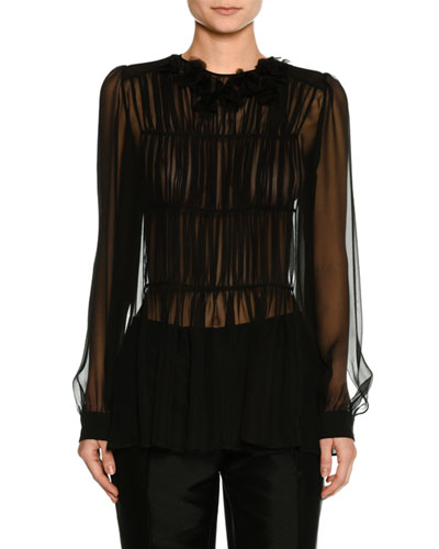 Long-Sleeve Pleated Sheer Chiffon Blouse
