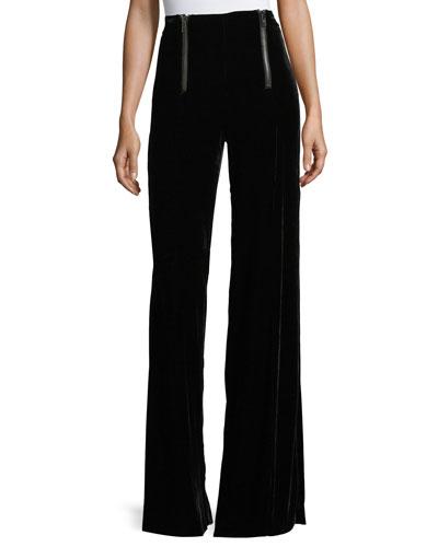 Victoria High-Waist Wide-Leg Velvet Pants