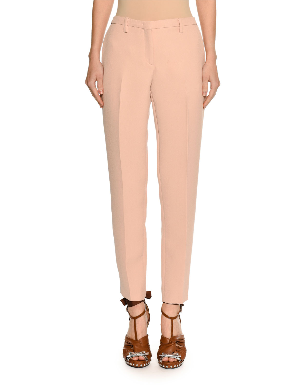 Mid-Rise Skinny-Leg Crepe Trousers