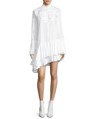 Super Human Ruffled Cotton Shirting Asymmetric Shirtdress