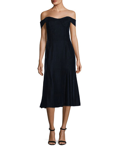 Balmwell Off-the-Shoulder Velvet Cocktail Dress