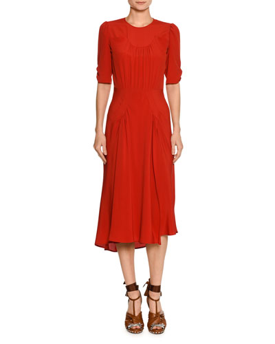 Jewel-Neck Ruched Half-Sleeve Midi Dress