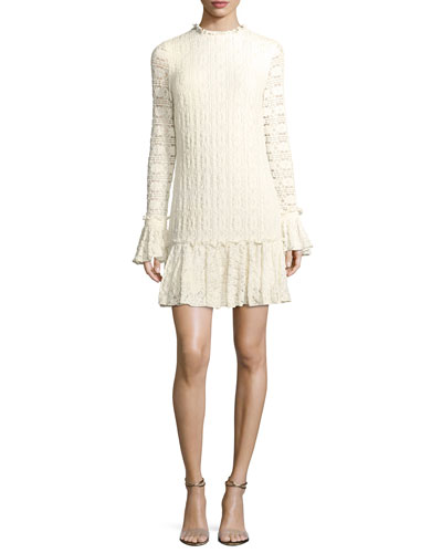 Heatherley Flounce High-Neck Long-Sleeve Lace Dress