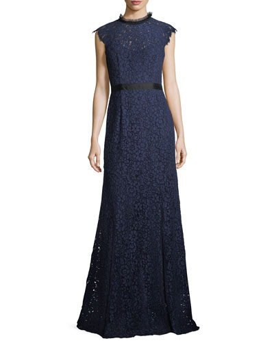 Raeberry Cap-Sleeve Lace Column Evening Gown