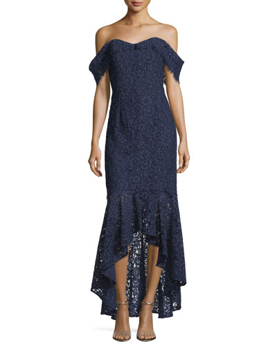 Vanowen Lace Off-the-Shoulder High-Low Evening Gown
