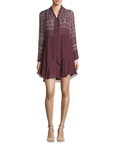 Braemar Tie-Neck Long-Sleeve Printed Chiffon Dress