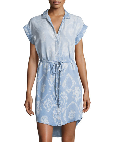 Diamond-Print Chambray Dress