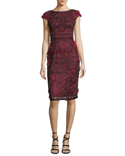 3D Floral Cap-Sleeve Beaded Sheath Cocktail Dress