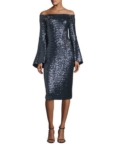 Off-the-Shoulder Trumpet-Sleeve Sequin Cocktail Dress