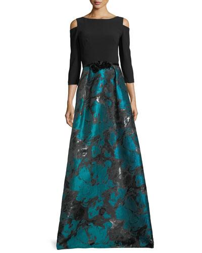 Cold-Shoulder Crepe & Taffeta Evening Gown