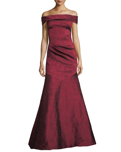 Off-the-Shoulder Trumpet Evening Gown