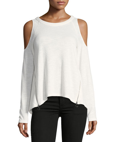 Cold-Shoulder Zip-Detail Tee