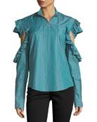 Truth-Teller Split-Sleeve Striped Poplin Shirt