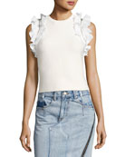 Sleeveless Fitted Cotton Top w/ Ruffled Trim
