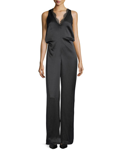 Grazia Sleeveless Satin Jumpsuit w/ Lace