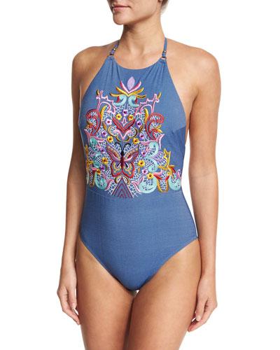 Dazed Denim Goddess Halter Embroidered One-Piece Swimsuit