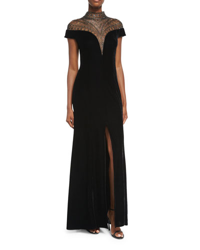 Velvet Cap-Sleeve Evening Gown w/ Beaded Neck