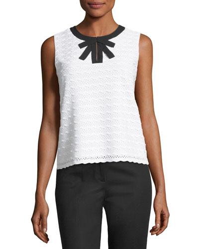 Sleeveless Stripe-Knit Top